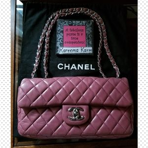 Authentic Chanel Lambskin Shoulder Bag Dusty Rose